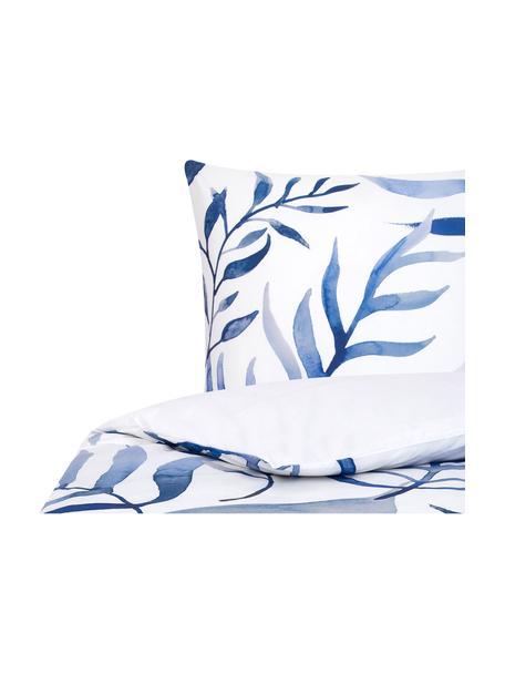 Parure copripiumino reversibile in percalle Francine, Fronte: blu, bianco Retro: bianco, 155 x 200 cm