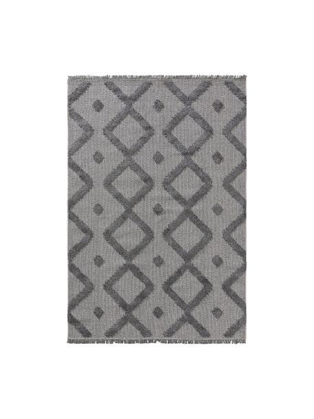 Tappeto in cotone lavato con rilievo e frange Oslo, 100% cotone, Grigio, melangiato, Larg. 130 x Lung. 190 cm (taglia S)