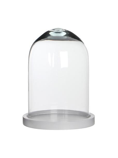 Glazen stolp Hella, Stolp: glas, Onderzetter: gelakt hout, Stolp: transparant. Onderzetter: wit, Ø 18 x H 23 cm