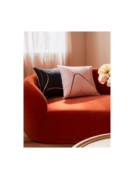 Federa arredo con stampa disegnata Curves, 100% cotone, Rosa, bianco, Larg. 40 x Lung. 40 cm