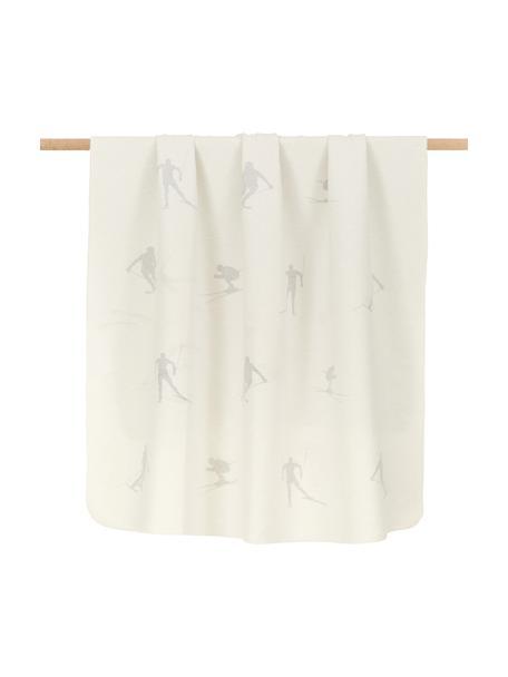 Coperta in flanella con motivo sci e cuciture decorative Silvretta, 85% cotone, 15% poliacrilico, Bianco, grigio, Larg. 140 x Lung. 200 cm