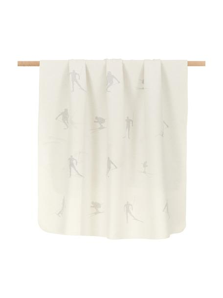 Flanelldecke Silvretta mit Skier Motiven und Ziernaht, 85% Baumwolle, 15% Polyacryl, Weiß, Grau, 140 x 200 cm