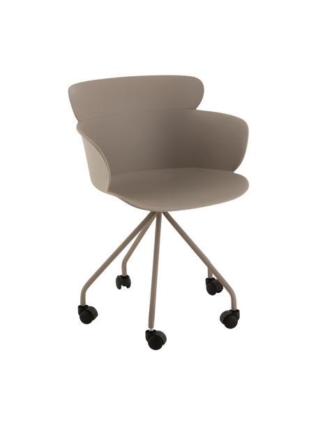 Sedia da ufficio in plastica con ruote Eva, Materiale sintetico (PP), Greige, Larg. 60 x Alt. 54 cm