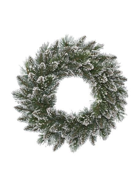 Kerstkrans Finley, Kunststof, Groen, wit, Ø 50 x H 15 cm