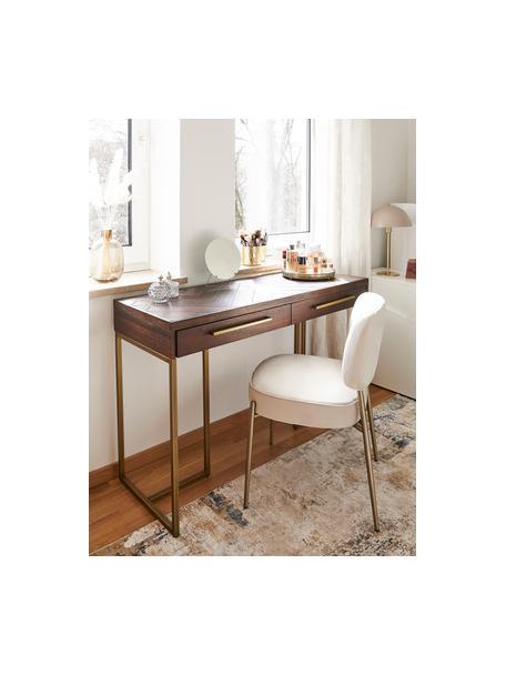 Sedia imbottita in velluto Viggo, Rivestimento: velluto (poliestere) La c, Velluto beige, gambe oro, Larg. 49 x Prof. 66 cm