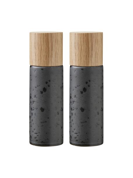 Salero y pimientero de gres Bizz, 2pzas., Recipiente: gres, Grinder: cerámica, Negro, beige, Ø 5 x Al 17 cm