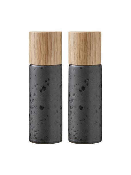 Set macina spezie Bizz 2 pz, Coperchio: legno di quercia, Nero, beige, Ø 5 x Alt. 17 cm