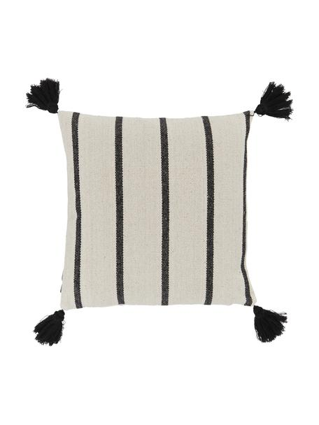 Funda de cojín con borlas Oyo, 100%algodón, Negro, blanco crudo, An 40 x L 40 cm