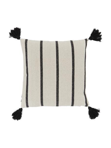 Gestreepte kussenhoes Oyo met kwastjes, 100% katoen, Zwart, gebroken wit, 40 x 40 cm