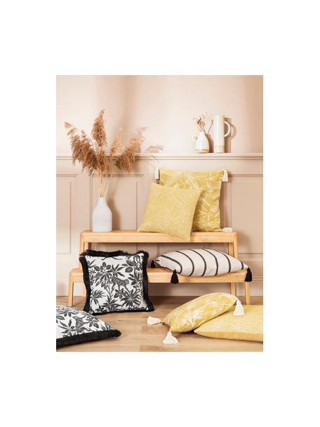 Federa arredo a righe con nappe Oyo, 100% cotone, Nero, bianco latte, Larg. 40 x Lung. 40 cm