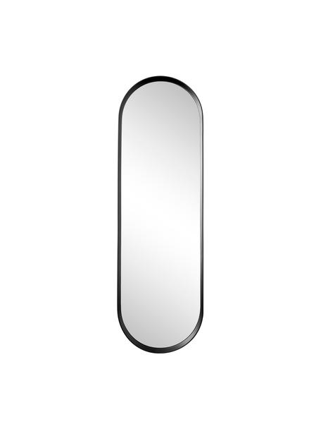 Ovale wandspiegel Norm met zwarte aluminium lijst, Lijst: gepoedercoat aluminium, Zwart, 40 x 130 cm