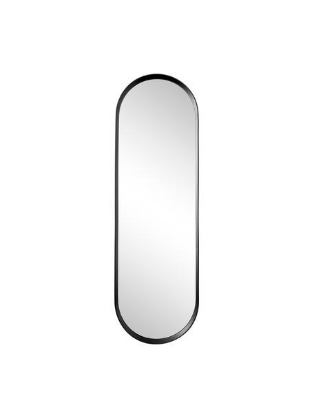 Specchio da parete ovale in legno nero Norm, Cornice: alluminio verniciato a po, Superficie dello specchio: lastra di vetro, Nero, Larg. 40 x Alt. 130 cm