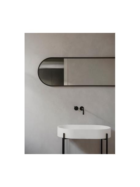 Owalne lustro ścienne z aluminiową ramą Norm, Czarny, S 40 x W 130 cm