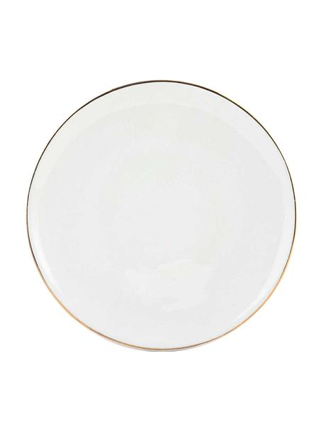 Handgemaakte ontbijtborden Allure met goudkleurige rand, 6 stuks, Keramiek, Wit, goudkleurig, Ø 21 cm