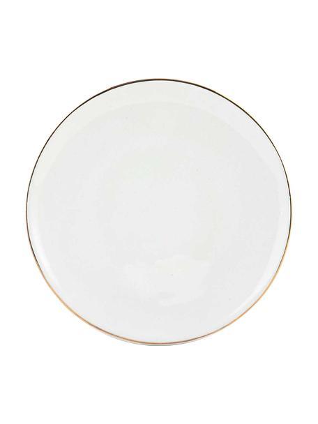 Handgemachte Frühstücksteller Allure mit goldfarbenem Rand, 6 Stück, Keramik, Weiß, Goldfarben, Ø 21 cm