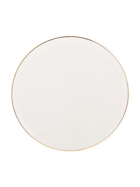 Handgemachte Frühstücksteller Allure mit goldfarbenem Rand, 6 Stück, Keramik, Weiss, Goldfarben, Ø 21 cm