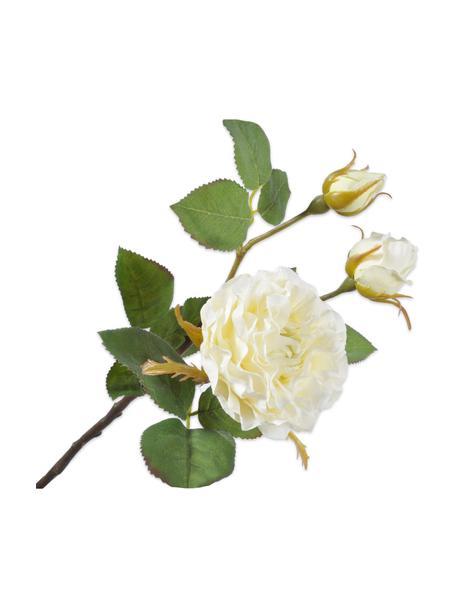 Flor artificial Rose, Plástico, alambre de metal, Blanco, L 48 cm