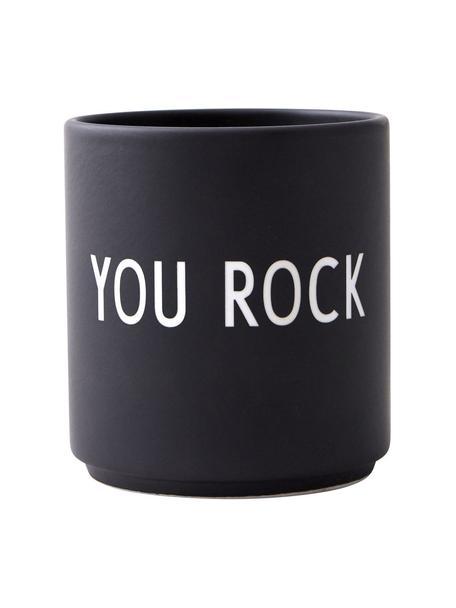 Taza con frase de diseño Favourite YOU ROCK, Porcelana fina de hueso (porcelana) Fine Bone China es una pasta de porcelana fosfática que se caracteriza por su brillo radiante y translúcido., Negro, blanco, Ø 8 x Al 9 cm
