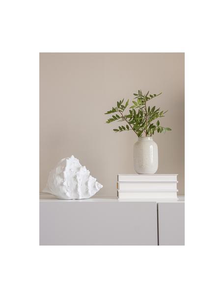 Kleine tafellamp Seashell van keramiek, Lamp: keramiek, Wit, 30 x 15 cm