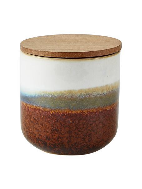 Geurkaars Coconut Beach (kokosnoot), Houder: keramiek, Deksel: MDF, Bruin, wit, Ø 9 x H 9 cm