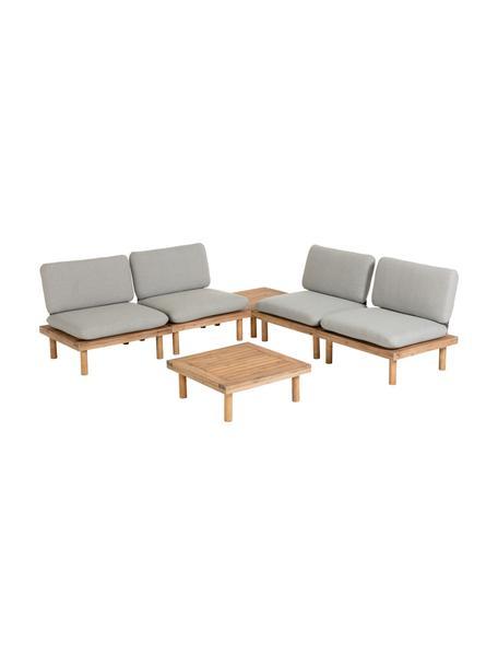 Modulaire houten loungeset Viridis, 6-delig, Frame: gelakt acaciahout, Bekleding: 100% polyester, Acaciahout, grijs, Set met verschillende formaten