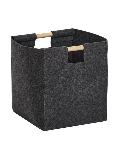 Cesta Fritz, Cesta: 100%poliéster (fieltro), Asas: madera de álamo, Gris antracita, An 30 x Al 35 cm