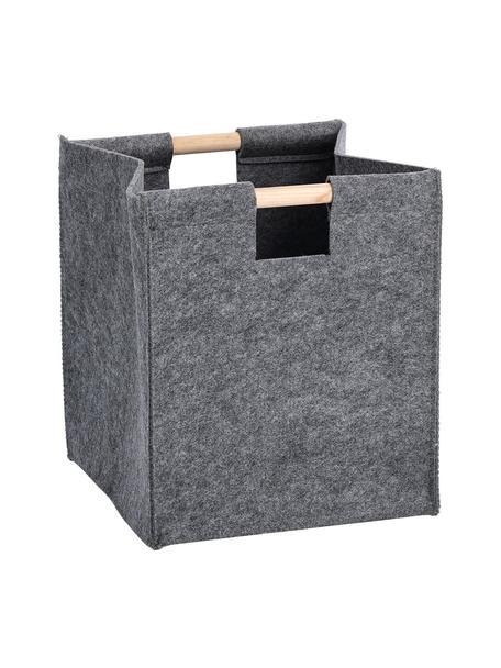Opbergmand Fritz, Mand: 100% polyester (vilt), Handvatten: populierenhout, Grijs, 30 x 35 cm