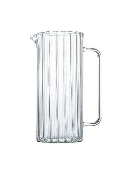 Krug Romantic aus Borosilikatglas und Rillenrelief, 1.1 L, Borosilikatglas, Transparent, Ø 8 x H 21 cm