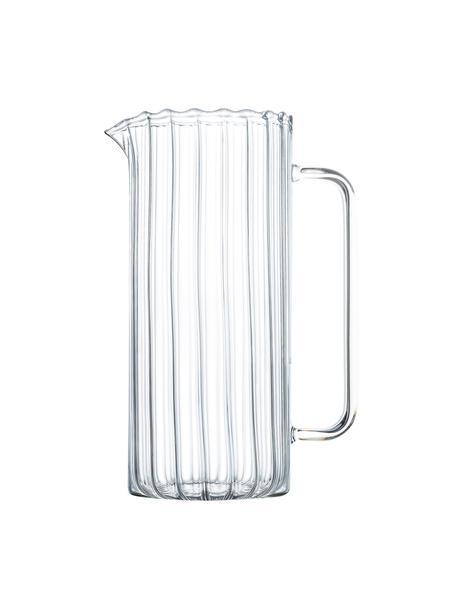 Caraffa in vetro borosilicato e rilievo scanalato Boro 1,1 L, Vetro borosilicato, Trasparente, Ø 8 x Alt. 21 cm