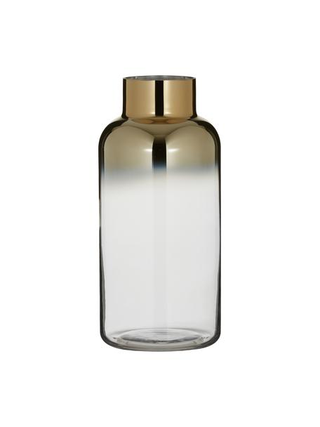 Grosse Vase Uma, Glas, Transparent, Goldfarben, Ø 16 x H 35 cm