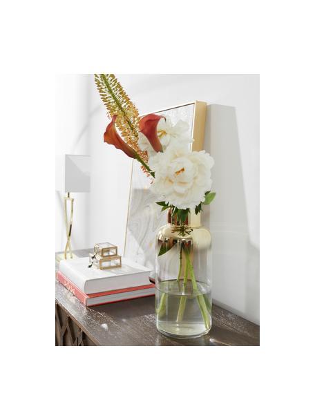 Mundgeblasene Glasvase Uma, Glas, Transparent, Goldfarben, Ø 16 x H 35 cm