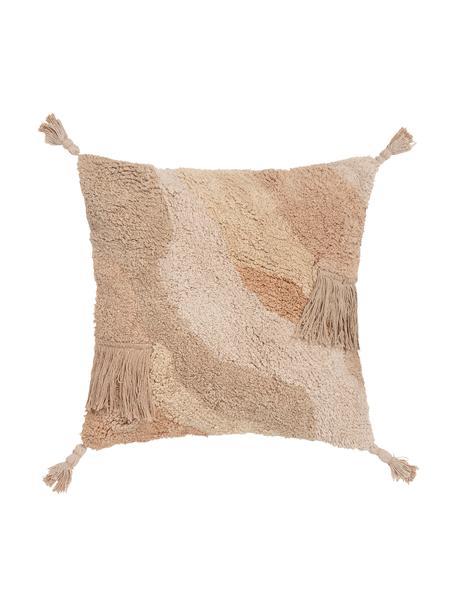 Federa arredo con superficie strutturata e nappe Malva, 100% cotone, Tonalità beige, Larg. 45 x Lung. 45 cm