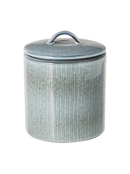 Bote artesanal de gres Nordic Sea, Gres, Tonos grises y azules, Ø 12 x Al 12 cm
