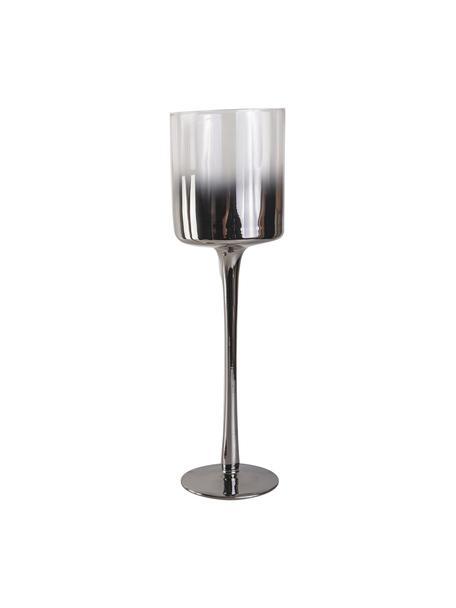 Kerzenhalter Shadow, Glas, Transparent, Silberfarben, Ø 9 x H 30 cm