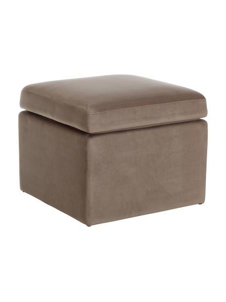 Puf de terciopelo Winou, con espacio de almacenamiento, Tapizado: terciopelo (100%poliéste, Estructura: metal, Terciopelo beige oscuro, An 55 x Al 46 cm