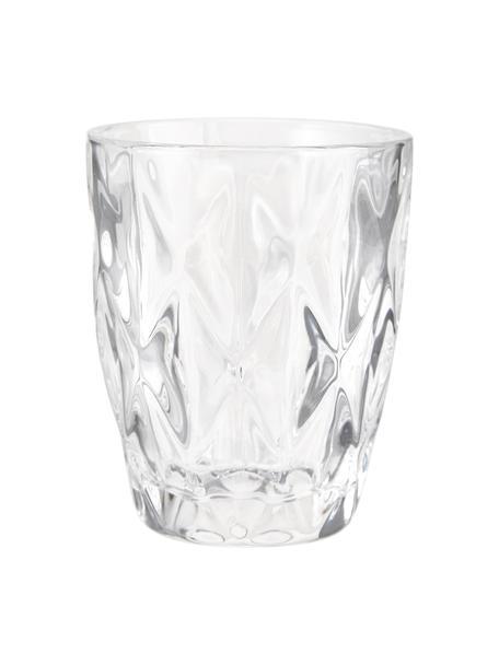 Vasos con relieve Colorado, 4uds., Vidrio, Transparente, Ø 8 x Al 10 cm