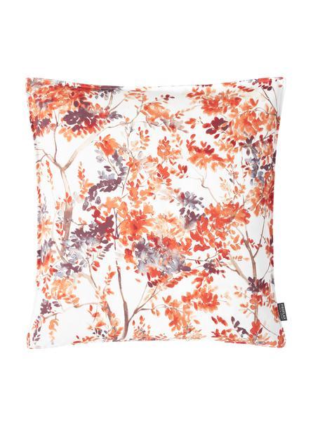 Kissenhülle Clermont mit buntem Blumenmotiv, 100% Baumwolle, Rot, Weiß, Grau, Braun, 40 x 40 cm