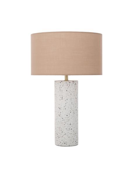 Tischlampe Mosaik mit Betonfuß, Lampenschirm: Baumwollgemisch, Lampenfuß: Beton, Dekor: Metall, gebürstet, Altrosa, Weiß, Terrazzo-gemustert, Ø 33 x H 50 cm