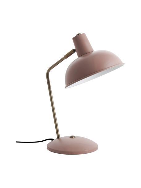 Retro tafellamp Hood, Lampenkap: gelakt metaal, Lampvoet: gelakt metaal, Lamp: roze, messingkleurig. Lampenkap binnenzijde: wit, 20 x 38 cm