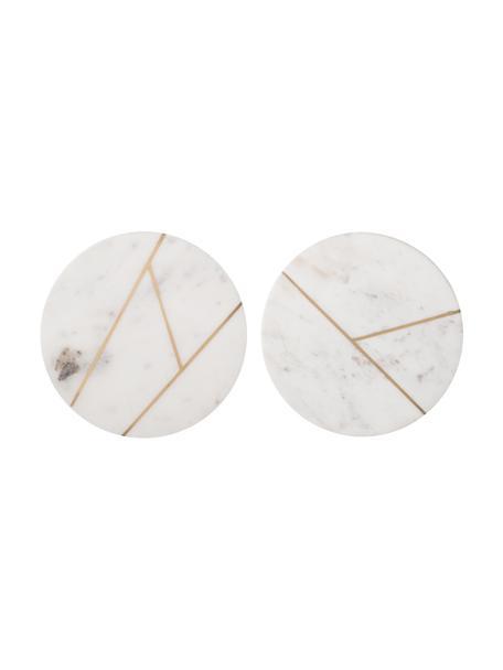 Set 2 piatti piani in marmo Marble, Ø 18 cm, Marmo, Bianco marmorizzato, dorato, Ø 18 cm