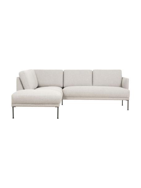 Sofa narożna z metalowymi nogami Fluente, Tapicerka: 80% poliester, 20% ramia , Nogi: metal malowany proszkowo, Beżowy, S 221 x G 200 cm