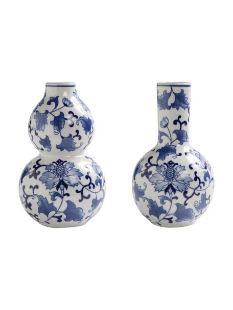 Vasen-Set Dutch Delight, 2-tlg., Porzellan, Weiß, Blau, Ø 12 x H 20 cm