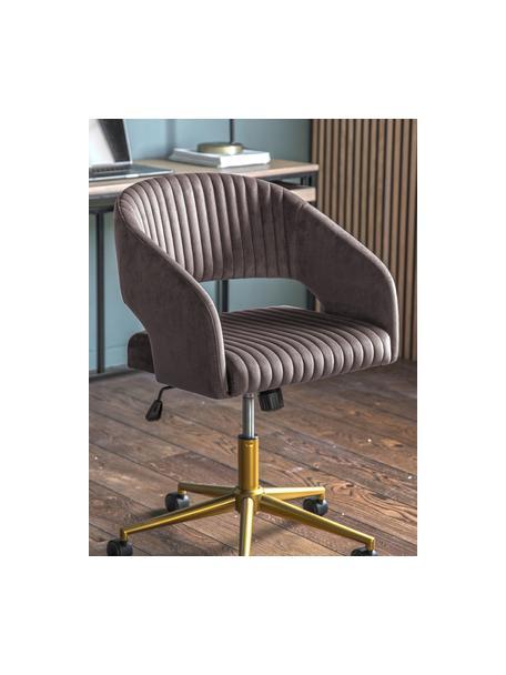 Fluwelen bureaustoel Murray, in hoogte verstelbaar, Bekleding: polyester fluweel, Poten: gegalvaniseerd metaal, Wieltjes: kunststof (nylon), Grijs, 56 x 52 cm