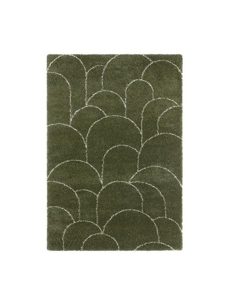 Tappeto a pelo lungo verde con motivo grafico Desso, 100% polipropilene, Verde bosco, crema, Larg. 80 x Lung. 150 cm (taglia XS)