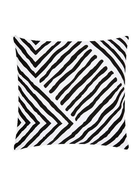 Gemusterte Kissenhülle Mia in Schwarz/Weiß, 100% Baumwolle, Schwarz, Weiß, 40 x 40 cm