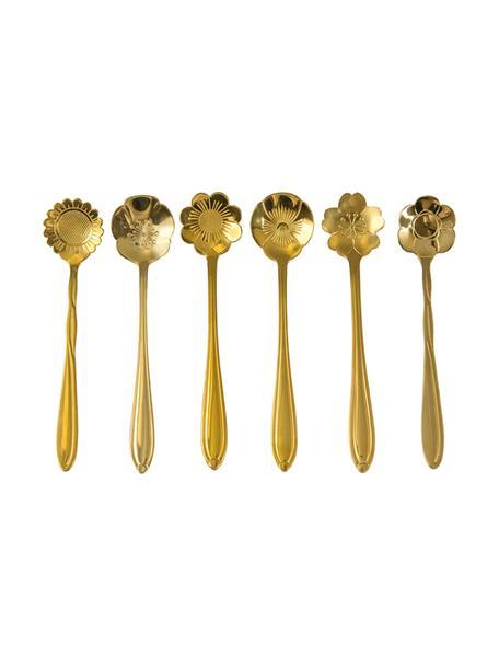 Goudkleurige theelepelsset Flower, 6-delig, Gecoat edelstaal, Goudkleurig, L 12 cm