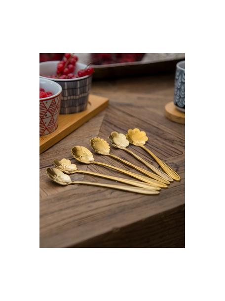 Set 6 cucchiaini da tè dorati Flower, Acciaio inossidabile rivestito, Dorato, Lung. 12 cm