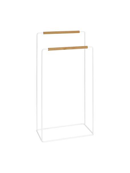 Portasciugamani Barbican, Metallo, legno di caucciù verniciato, Bianco, caucciù, Larg. 40 x Alt. 81 cm