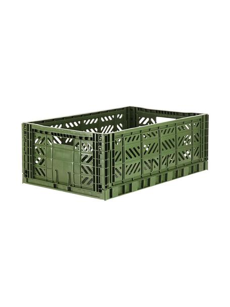 Caja plegable apilable Khaki, grande, Plástico reciclado, Caqui, An 60 x Al 22 cm