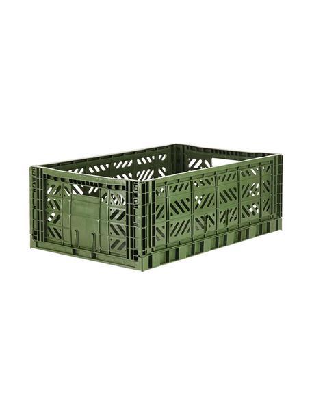 Cesto grande pieghevole e impilabile Khaki, Materiale sintetico riciclato, Cachi, Larg. 60 x Alt. 22 cm